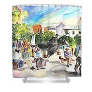 The Ghost Of Don Quijote In Alcazar De San Juan Shower Curtain