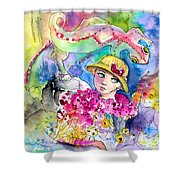 The Girl And The Lizard Shower Curtain