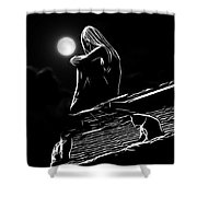 The Girl On The Roof Shower Curtain
