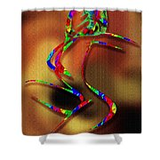 The Girl With Kaleidoscope Lines Shower Curtain