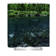 The Glimmer Of Maroon Lake Shower Curtain