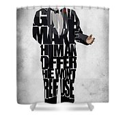 The Godfather Inspired Don Vito Corleone Typography Artwork Shower Curtain by Ayse Deniz