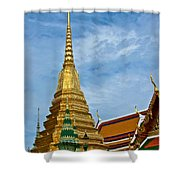 The Golden Chedis At Grand Palace Of Thailand In Bangkok Shower Curtain