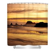 The Golden Coast Shower Curtain by Darren  White