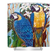 The Golden Macaw Shower Curtain