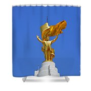 The Golden Niyazov Statue On Top Of The Arch Of Neutrality In Ashgabat Turkmenistan Shower Curtain