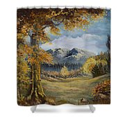 The Golden View Shower Curtain