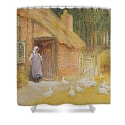 The Goose Girl Shower Curtain by Arthur Claude Strachan