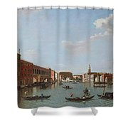 The Grand Canal And San Geremia, Venice, 18th Century Shower Curtain