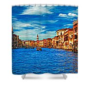 The Grand Canal Impasto Shower Curtain