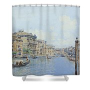 The Grand Canal With A View Of Palace Shower Curtain