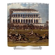 The Grand Stand At Epsom Races, Print Shower Curtain