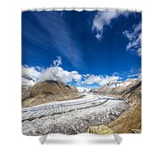 The Great Aletsch Glacier And Deep Blue Sky Shower Curtain