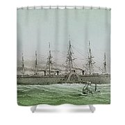 The Great Eastern Laying Electrical Cable Between Europe And America Shower Curtain
