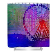 The Great  Wheel Cubed Shower Curtain