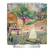 The Green Beach Cottage Shower Curtain