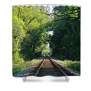 The Green Line Railroad Track Art Shower Curtain