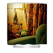 The Green Phone Shower Curtain