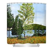 The Grey Camp Beech Hill Pond Shower Curtain