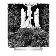 The Grotto - Calvary Scene With Border Shower Curtain