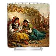 The Gypsies Shower Curtain by Thomas Kent Pelham