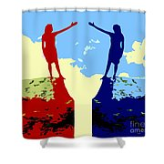 The Hand Of Friendship Shower Curtain by Patrick J Murphy