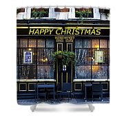 The Happy Christmas Pub Shower Curtain