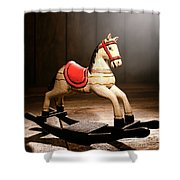 The Happy Little Rocking Horse In The Attic Shower Curtain