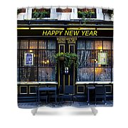 The Happy New Year Pub Shower Curtain