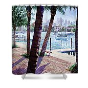 The Harbor Palms Shower Curtain