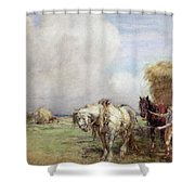 The Hay Wagon Shower Curtain