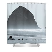 The Haze At Haystack Rock Shower Curtain