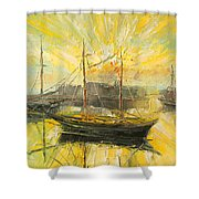 The Heraklion Harbour Shower Curtain
