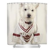 The Hockey Player Shower Curtain by Edward Fielding