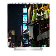 The Holidays In Time Square Shower Curtain