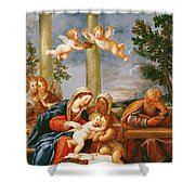 The Holy Family With St. Elizabeth And St. John The Baptist, C.1645-50 Oil On Copper Shower Curtain