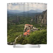 The Holy Monastery Of Rousanou Meteora Greece  Shower Curtain