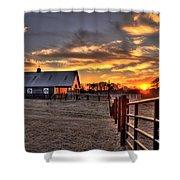 The Horse Barn Sunset Shower Curtain