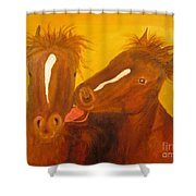 The Horse Kiss - Original Oil Painting Shower Curtain