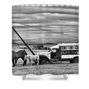 The Horses And The Welding Truck Shower Curtain