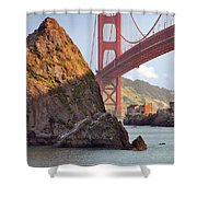 The House Below The Golden Gate Bridge Shower Curtain