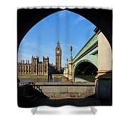 The Houses Of Parliament In London Shower Curtain