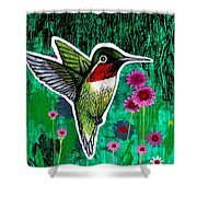 The Hummingbird Shower Curtain by Genevieve Esson