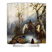 The Hump Rib Shower Curtain by Alfred Jacob Miller