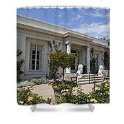 The Huntington Library Rose Garden Tea House Shower Curtain