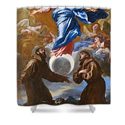 The Immaculate Conception With Saints Francis Of Assisi And Anthony Of Padua Shower Curtain