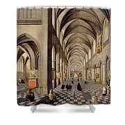 The Interior Of A Gothic Church Shower Curtain by Hendrik the Younger Steenwyck