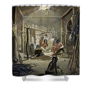 The Interior Of A Hut Of A Mandan Chief Shower Curtain by Karl Bodmer