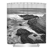 The Jagged Rocks And Cliffs Of Montana De Oro State Park In California In Black And White Shower Curtain