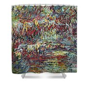 The Japanese Bridge At Giverny Shower Curtain by Claude Monet